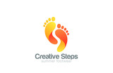 Foot steps Logo abstract vector template...Creative footsteps fo - 85092526