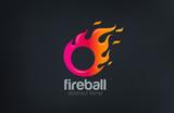 Fireball Logo Fire flame abstract design vector template...Circl - 85092533
