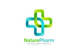 Medical Cross Logo Pharmacy natural eco Clinic design vector tem