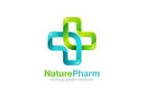 Medical Cross Logo Pharmacy natural eco Clinic design vector tem - 85092547