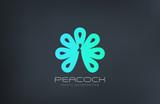 Peacock Logo abstract negative space design vector template...Lu - 85092556