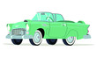 Постер, плакат: Caricatura Ford Thunderbird convertible verde vista frontal y lateral