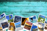 Fototapety heap of travel photos on azure wood background