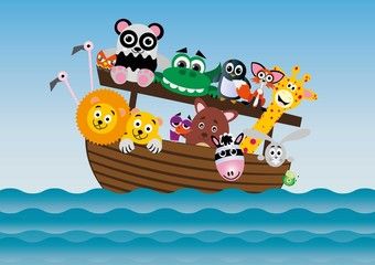 zwierzęta,arka.lew,panda,żyrafa,zebra,miś,krokodyl,statek,ptaki,flaming,królik,ślimak,pingwin,