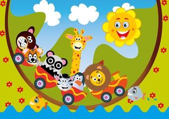 zwierzątka,pociąg,wesołe,zoo,dżungla,żyrafa,miś,panda,lew,zebra,pingwin,wakacje,zabawa