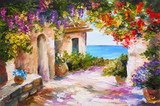 Fototapety oil painting - house near the sea, colorful flowers, summer seascape