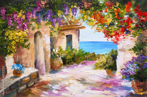 Fototapety, obrazy : oil painting - house near the sea, colorful flowers, summer seascape