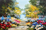 Fototapety Oil painting landscape - colorful summer forest, beautiful flowers