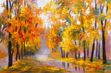 Fototapety oil painting landscape - autumn forest, full of fallen leaves, colorful picture , abstract drawing