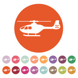 The helicopter icon. Copter symbol. Flat poster