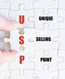 Last puzzle piece with Business Acronym USP poster