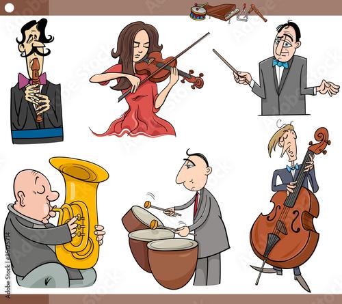 Staande foto Kinderkamer musicians characters set cartoon