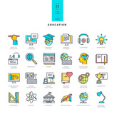 Fototapety Set of line modern color icons for education
