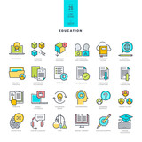 Fototapety Set of line modern color icons on the theme of education