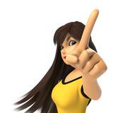 指さす女性の3D-CG