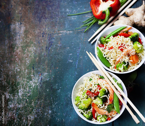 Chinese noodles with vegetables and shrimps © Natalia Klenova