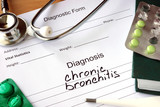Diagnosis chronic bronchitis  and pills.  poster