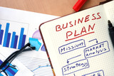 Notepad with words business plan  concept and glasses