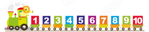 math train for children with lion and numbers 1-10