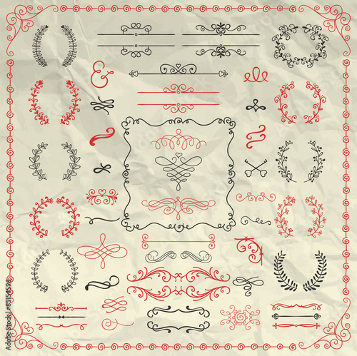 Tuinposter Abstract bloemen Hand Sketched Doodle Design Elements on Crumpled Paper