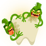 cartoon germs destroying a tooth