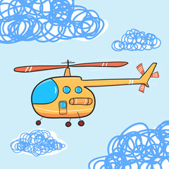 Helicopter in the cloud sky. Vintage Cartoon helicopter. Vector
