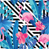 flamingo and orchids pattern, geometric background