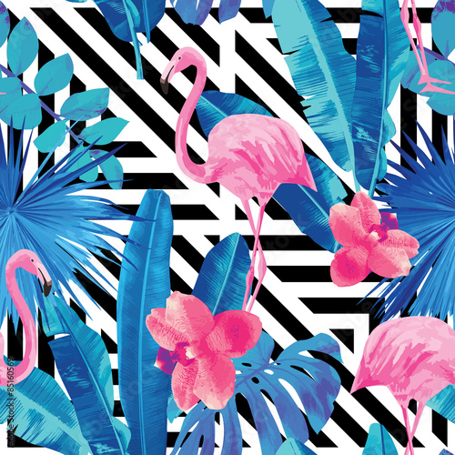 Cotton fabric flamingo and orchids pattern, geometric background