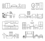 Fototapety Home related icons. Furniture for different rooms