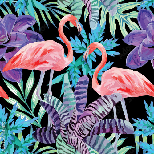 Cotton fabric flamingo watercolor and exotic plants pattern