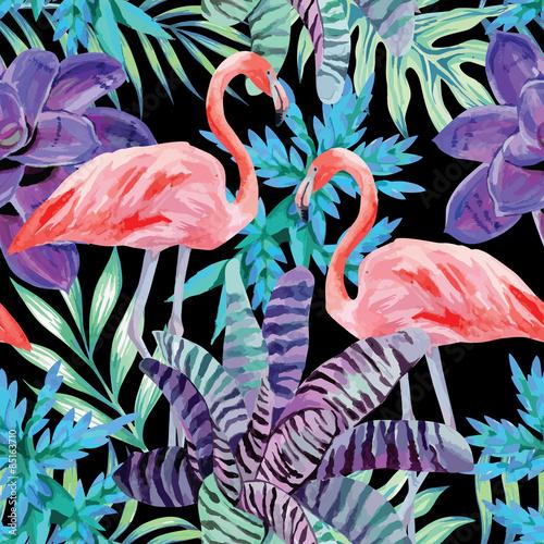 Stoffe zum Nähen Flamingo Aquarell und exotischen Pflanzen Muster