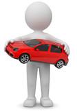 Männchen mit rotem Auto