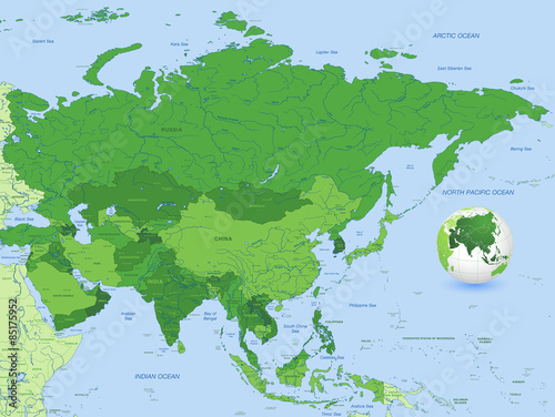 High Detail Vector Asia Map