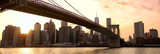 Fotoroleta Manhattan skyline panorama and Brooklyn Bridge at sunset, New York
