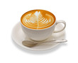 Latte art , coffee isolated on white background