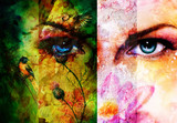 Fototapety Color abstract background with birds and flower and  blue eye.