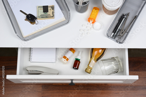 Poster Open Desk Drawer With Booze