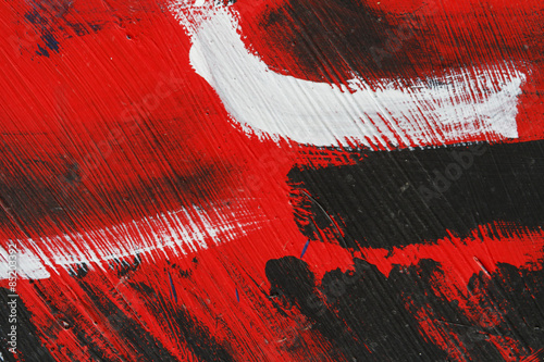 Small part of painted metal wall with  black,red and white paint - 85203392