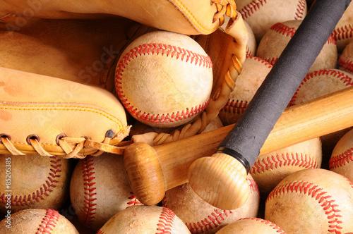 Vintage Baseball Equipment, bat, balls, glove