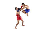 Fototapeta Two thai boxers exercising traditional martial art