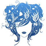 Girl with underwater life in hair.