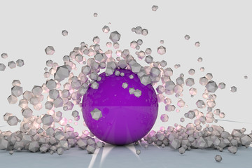 Abstract 3d objects explode around purple sphere backlit © marinv