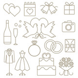 Wedding related vector outline icons set - 85228938