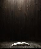 Fototapety dark wooden background texture. Wood shelf, grunge industrial interior with a book