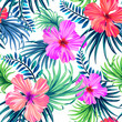 seamless tropical floral pattern. hibiscus and palm leaves on white background. classical aloha motifs in a juicy colorful pattern design. - 85241355