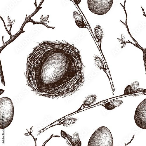 Cotton fabric Seamless vintage pattern with ink hand drawn willow tree twigs. Vector spring background.
