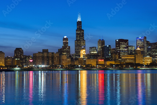 Fotobehang Chicago City of Chicago Skyline and Night Lights