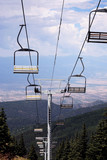 Chair lift for skiers, Santa Fe, Mew Mexico poster