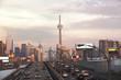 Busy highway to Toronto Downtown. Toronto, Ontario, Canada
