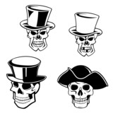 Skulls in top hats and pirate hat
